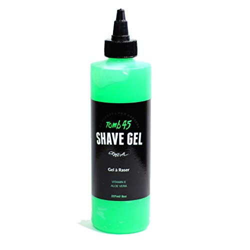 Tomb 45 Non-Foaming Transparent Shave Gel with Skin Replenishing Vitamin E, Soothing Aloe Vera, Sensitive Skin Moisturizer, Fresh Scent 8oz