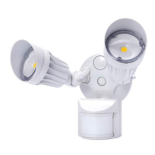 JJC LED Outdoor Security Lights Motion Sensor Flood Lights 20W(120W Equiv.)2000LM,IP65 Waterproof,3000K Warm White DLC & ETL Listed Outdoor Lighting White