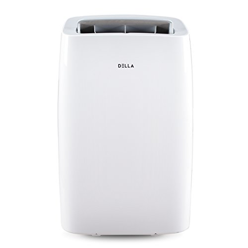 DELLA 14000 BTU Portable Air Conditioner 11000 BTU Home Heater Cool Fan 111 Pint Per 24Hr Dehumidifier for Rooms Up To 700 Sq. Ft. Self Evaporation LCD Remote Control Window Kit Wheels