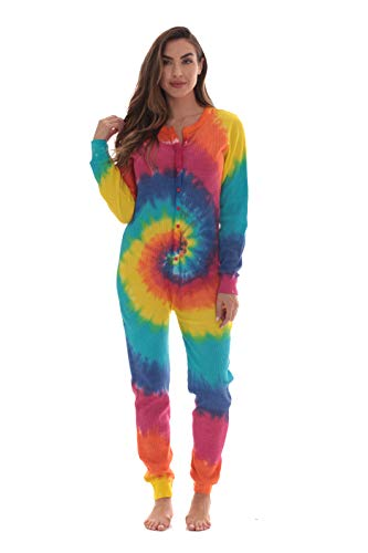 #followme Women's Tie Dye Henley Thermal Onesie 6769-10364-XL