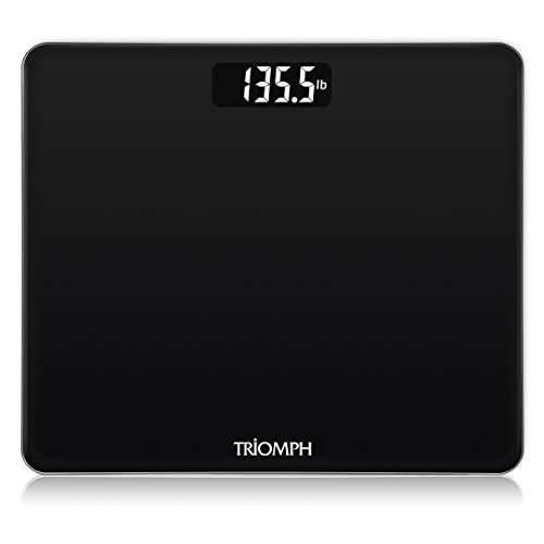 Triomph Digital Body Weight Bathroom Scale with Step-On Technology, Ultra Slim Design 6mm Tempered Glass, 400 Pounds, Weight Loss Monitor, Black