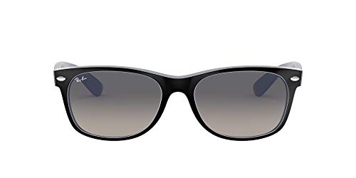 Ray-Ban RB2132 New Wayfarer Sunglasses, Matte Black On Opal Ice/Grey Gradient, 52 mm