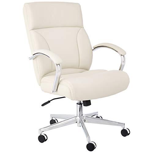 AmazonBasics Modern LeatherSoft Executive Chair, 300lbs Capacity with Oversized Seat Cushion, Ivory