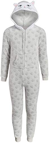 Rene Rofe Girl's Onesie Pajamas with Character Hood, Size Large/(10-12), Grey Cat Hearts