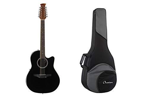 Ovation Applause Balladeer Acoustic Electric 12-String Guitar - Black + Ovation Zero Gravity Guitar Case