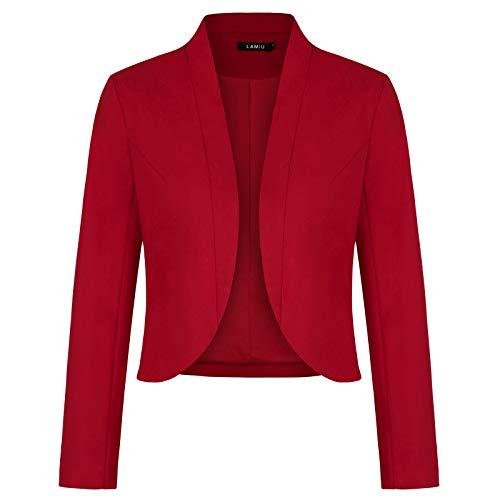 Women Blazer Open Front Cardigan Long Sleeve Fall Outfits Jacket Work Office Blazer (Red-Size L)
