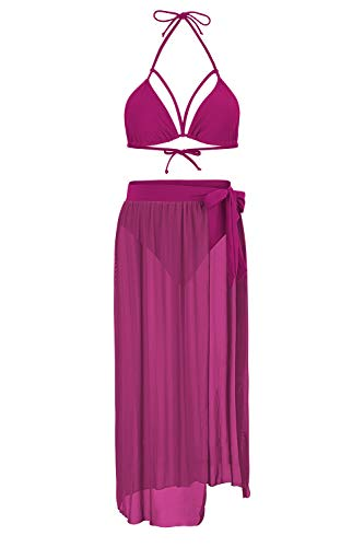 Kisscynest Women's High Waist Strappy Cut Out Bikini Sets Mesh Cover Ups Fuschia XL