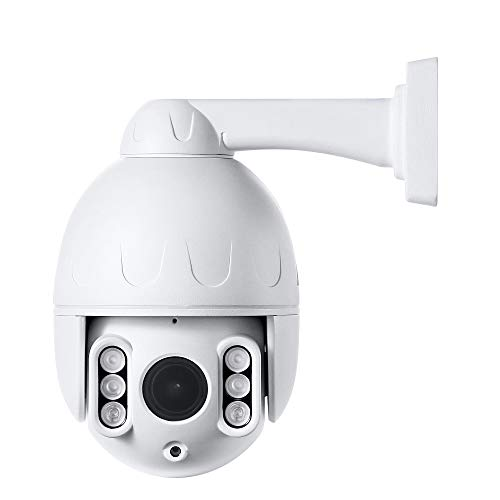 Outdoor 2.5inch 5MP IP POE PTZ Dome Security Camera Pan Tilt 4X Optical Zoom 165FT IR Night Vision Motion Detection Remote View RTSP Onvif SD Recording Support AT-500PE White