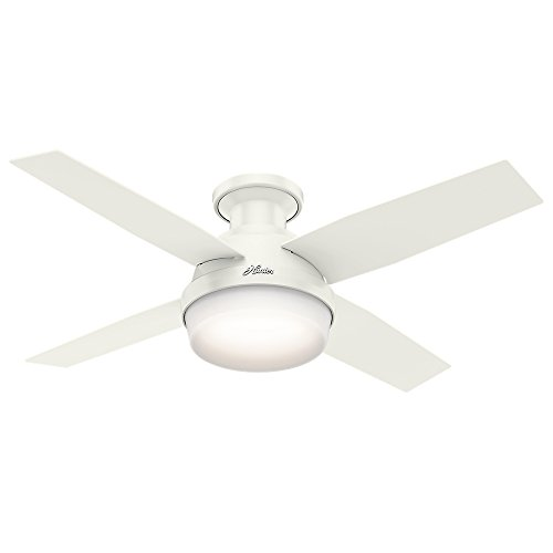 Hunter Indoor Low Profile Ceiling Fan with LED Light and remote control - Dempsey 44 inch, White, 59244