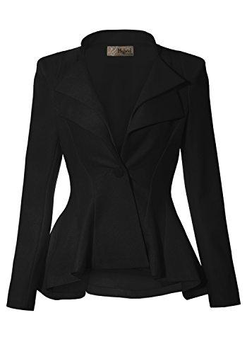 Women Double Notch Lapel Office Blazer JK43864 1073T Black XLarge