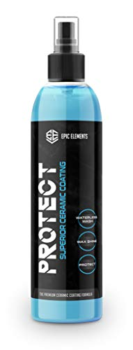 Epic Elements Protect Ceramic Coating for Cars Wax Spray | Premium Car Polish with Ultra SiO2 Coating | Hydrophobic Waterless Car Wash & Wax Spray for Paint Sealant Detail & Auto Protection Care