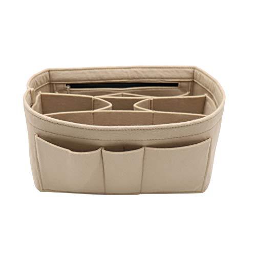 Felt Insert Fabric Purse Organizer Bag, Bag Insert In Bag with Zipper Inner Pocket Fits Neverfull Speedy 8010 Beige M