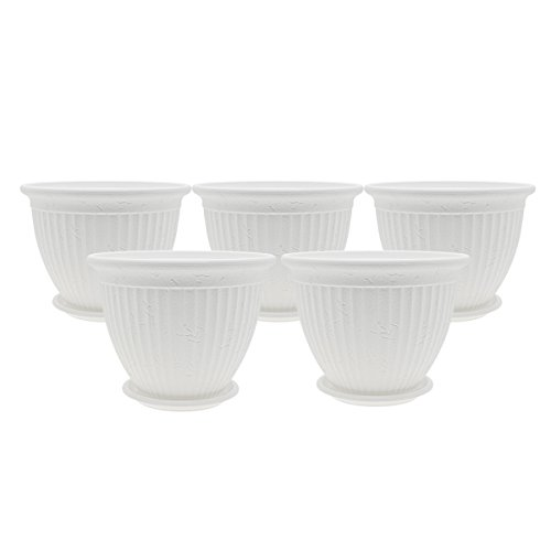 PENCK Outdoor Flower Pot Large Plant Pots Planters & Container Accessories Plastic Gardening Holders with Saucer for Indoor Garden Office, 7.9' Diameter, White, Pack of 5
