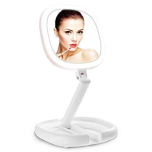 Beautifive Lighted Makeup Mirror, Double Sided Magnifying Mirror, Vanity Mirror with Lights, Smart Design with Brightness&Angle&Height Adjustability, Folding Compact Mirror, LED Mirror for Travel