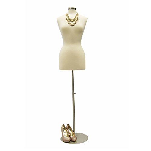 Female Mannequin Dress Form Torso with Round Metal Base and Neck Cap - Off White Premium Fully Pinnable Women's Dress Form #F6/8W+BS-04