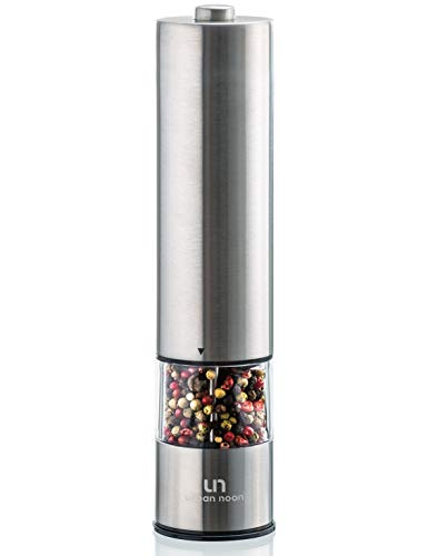 Electric Pepper Grinder or Salt Grinder - Battery Operated Stainless Steel Pepper Mill with Light - One Handed Operation - Adjustable Ceramic Grinders