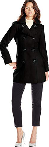 Anne Klein Women's Classic Double-Breasted Coat, Black, XL