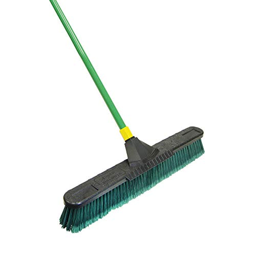 Quickie Bulldozer 24-Inch Multi-Surface Push Broom, Green - with Scraper
