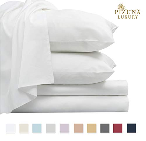 Pizuna 800 Thread Count Cotton White Queen Sheets Set, 100% Long Staple Cotton Smooth Sateen Bed Sheets, High Thread Count Sheets fit Upto 15 inch Deep Pockets (White Queen 100% Cotton Sheet Sets)