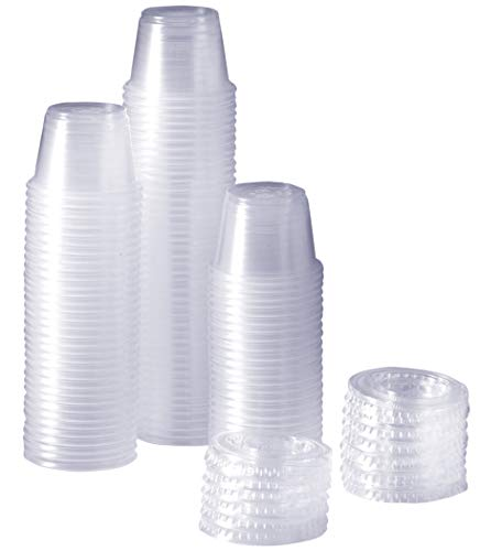 [100 Sets - 1 oz.] Plastic Disposable Portion Cups With Lids, Souffle Cups