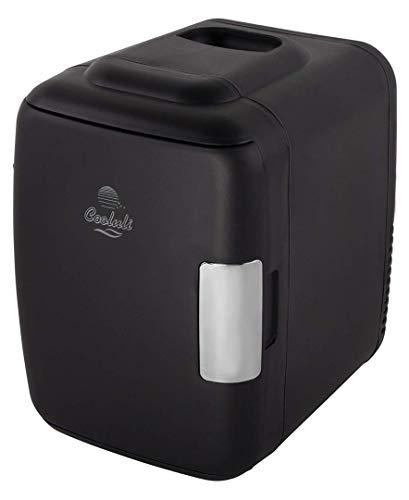 Cooluli Classic Black 4 Liter Compact Cooler Warmer Mini Fridge with AC/DC/USB Power - Great for Bedroom, Office, Car, Dorm - Portable Makeup Skincare Fridge