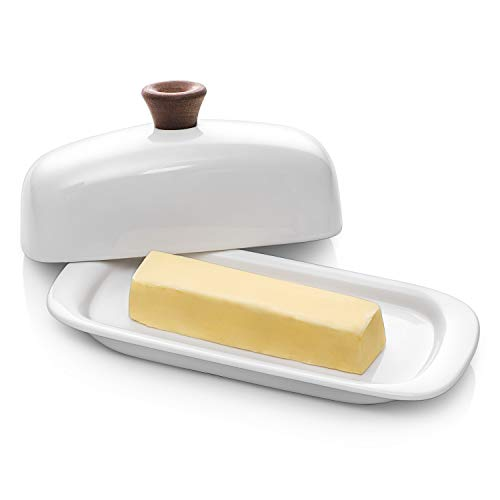 DOWAN Butter Dish with Lid, Porcelain Butter Dish with Cover, Perfect for East / West Butter