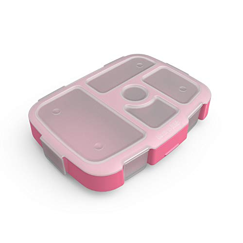 Bentgo Kids Prints Tray with Transparent Cover - Reusable, BPA-Free, 5-Compartment Meal Prep Container with Built-In Portion Control for Healthy At-Home Meals and On-the-Go Lunches (Pink Dots)