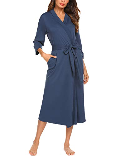 MAXMODA Women Robe Soft Kimono Robes Cotton Long Bathrobe Sleepwear Loungewear Long(Navy Blue, XL)