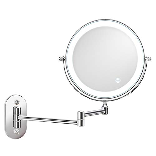alvorog Wall Mounted Makeup Mirror 8 inches LED Touch Screen Adjustable Light Double Sided 1X/5X Magnifying Vanity Mirror Swivel Extendable for Bathroom Hotels Powered by Batteries (Not Included)