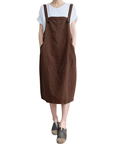 FLORHO Women Casual Spaghetti Strap Overalls Loose Jumper Dress With Side Pocket Coffee 2XL