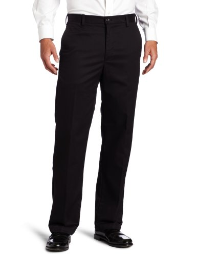 IZOD Men's American Chino Flat Front Straight Fit Pant, Black, 42W x 32L