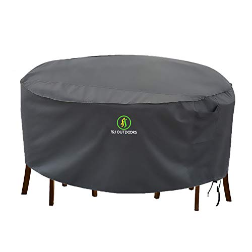 Outdoor Patio Furniture Covers, Waterproof UV Resistant Anti-Fading Cover for Medium Round Table Chairs Set, Grey, 72 inch Diameter