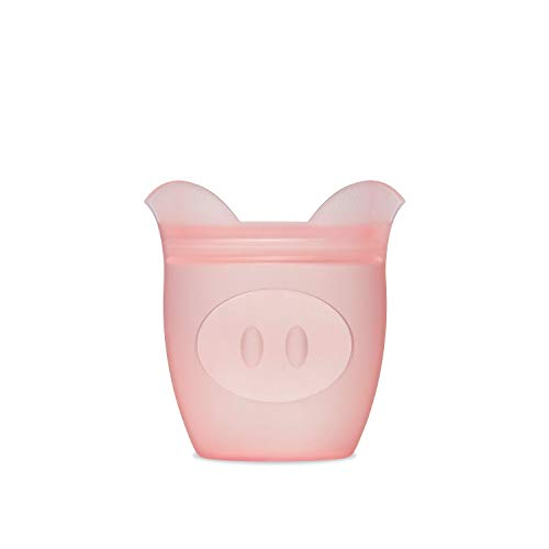 Zip Top 100% Platinum Silicone Baby Snack Containers (Pig)
