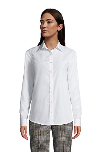 Lands' End Womens No Iron Supima Cotton Long Sleeve Shirt White Regular 14