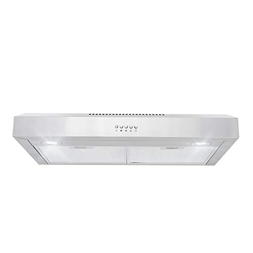 Cosmo 5U30 30-in Under-Cabinet Range Hood 250-CFM with Ducted/ Ductless Convertible Top/ Back Duct, Slim Kitchen Over Stove Vent LED Light, 3 Speed Exhaust Fan, Reusable Filter (Stainless Steel)