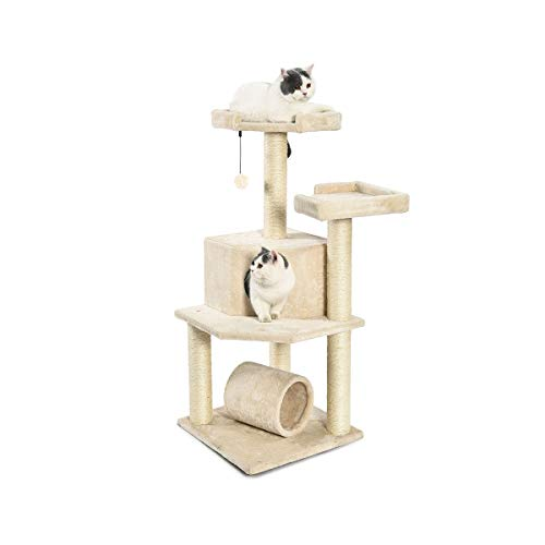 AmazonBasics Cat Tree Tower with Tunnel And Scratching Post - 19 x 19 x 43 Inches, Beige
