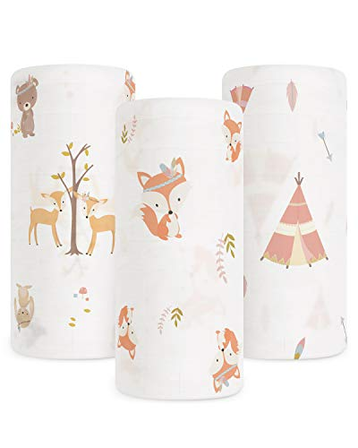 Babebay Baby Muslin Swaddle Blanket, 3-Pack Unisex Bamboo Swaddle Blanket Boys & Girl, Soft Silky Swaddling Blankets Wrap for Newborn Infant, Large 47 x 47 inches, Set of 3 -Fox, Tent and Jungle