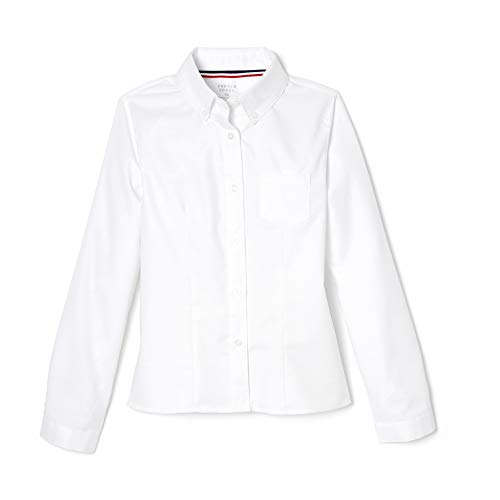 French Toast Girl's Long Sleeve Oxford Blouse, White, 10,Big Girls'