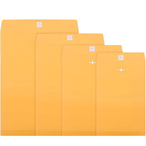 4 Sizes Clasp Envelopes Kraft Paper Catalog Clasp Envelope with Clasp Closure for Filing, Storing or Mailing Documents, 50 Pieces (6 x 9 Inch, 9 x 12 Inch, 10 x 13 Inch, 12 x 15.5 Inch)