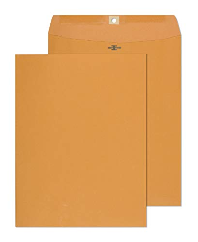 Clasp Envelopes - 10x13 Inch Brown Kraft Catalog Envelopes with Clasp Closure & Gummed Seal – 28lb Heavyweight Paper Envelopes for Home, Office, Business, Legal or School 15 Pack 10x13, Brown Kraft