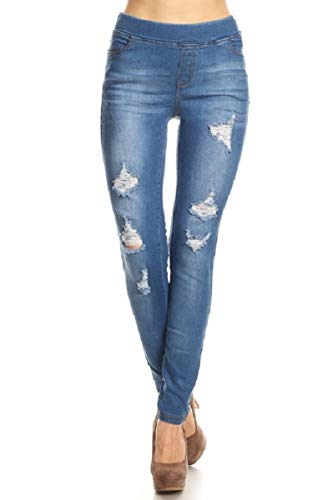 Women's Stretch Pull-On Skinny Ripped Distressed Denim Jeggings Blue-55 Large