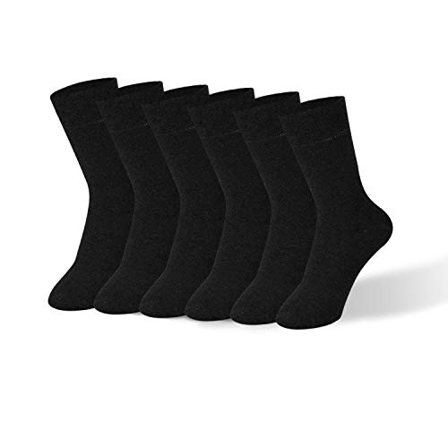 Mens Dress Socks, 98% Cotton Classic Business Socks for Men, Solid Color Lightweight Casual Crew Socks, 6 Pairs Pack