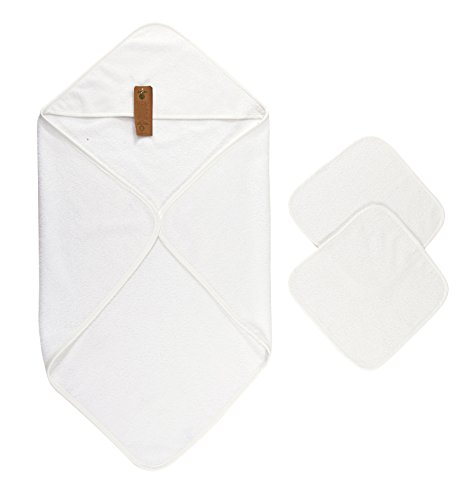 Arus Baby Organic Turkish Cotton Terry Hooded Nursery Towel Wrap Set, White, 35 x 35 inches