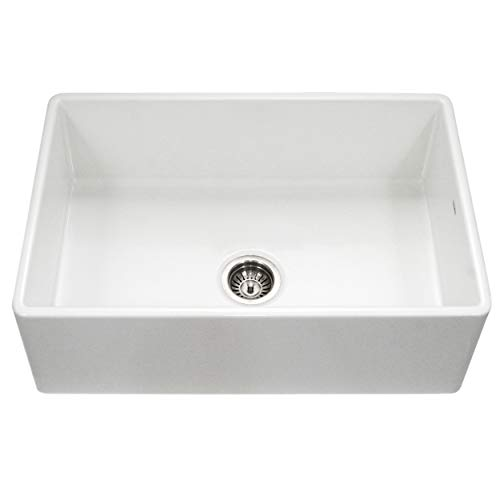 Houzer PTG-4300 WH Apron-Front Fireclay Single Bowl Kitchen Sink, 33', White