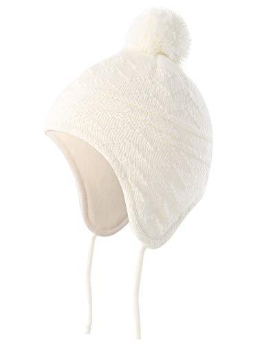 Connectyle Toddler Boys Kids Fleece Lined Earflap Knit Winter Beanie Cap M White