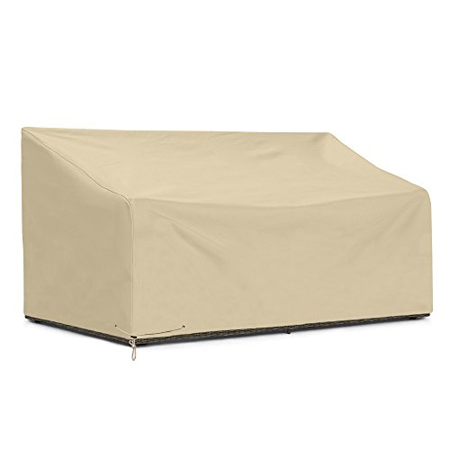 SunPatio Outdoor Patio Sofa Cover, Heavy Duty Deep Seat Sofa Cover, Large Couch Cover, Patio Furniture Sectional Cover with Waterproof Sealed Seam, All Weather Protection, 80'L x 39'W x 32'H, Beige