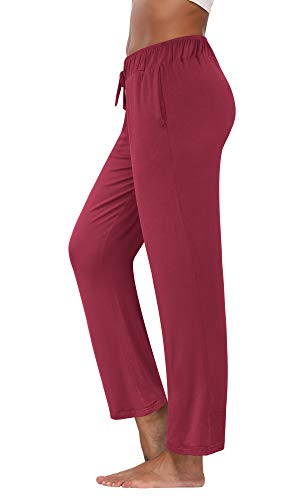 fitglam Women's Lounge Pants, Loose High Waist Yoga Pants, Drawstring Pajama Bottoms with Pockets(Burgundy,M)