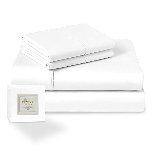 400-Thread-Count Queen Cotton-Sheets Set White, 100% Long Staple Cotton Queen Size Sheets Set, Soft Sateen Cotton Queen Size Bed-Sheet Set Deep Pocket fit Upto 15 inch (Cotton White Sheets Bed-Set)