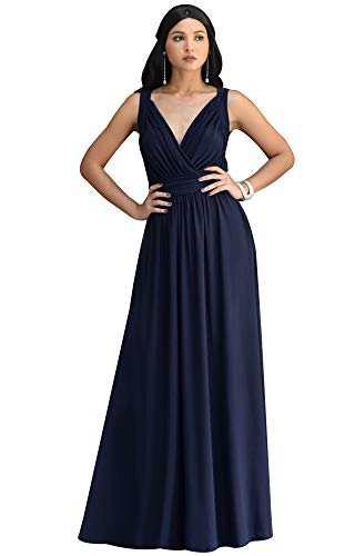 KOH KOH Plus Size Womens Long Sleeveless Flowy Bridesmaids Cocktail Party Evening Formal Sexy Summer Wedding Guest Ball Prom Gown Gowns Maxi Dress Dresses, Dark Navy Blue 2XL 18-20