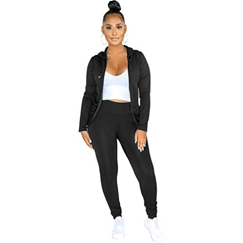 MSONWANY 2 Piece Outfits for Women - Pullover Sweatsuit Tracksuit Long Sleeve Sweatshirt and Long Pants Set Sports Jumpsuit Black M